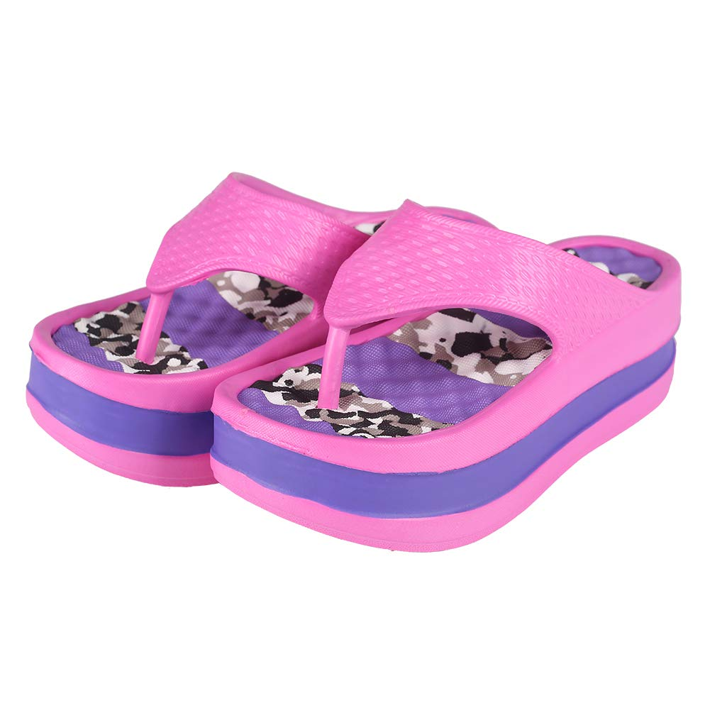 Womens Lightweight High Heel Flip Flops-Comfortable Wedge Sandals-Summer High Wedge Flip Flops for Beach,Pool (6-6.5 M US, Purple)
