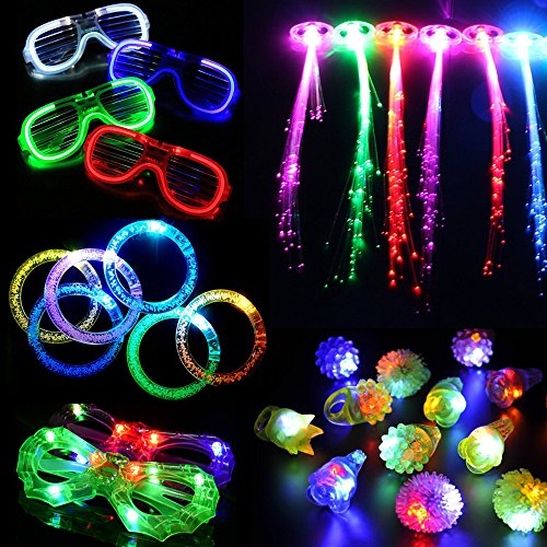 Acmee-30-pieces-LED-Light-Up-Party-Favor-Toy-SetLED-Party-Pack-With-LED-Accessories-12-LED-Flashing-Bumpy-Rings6-LED-Bubble-Bracelets6-LED-Glasses-and-6-LED-Fiber-Optic-Hair-Extensions