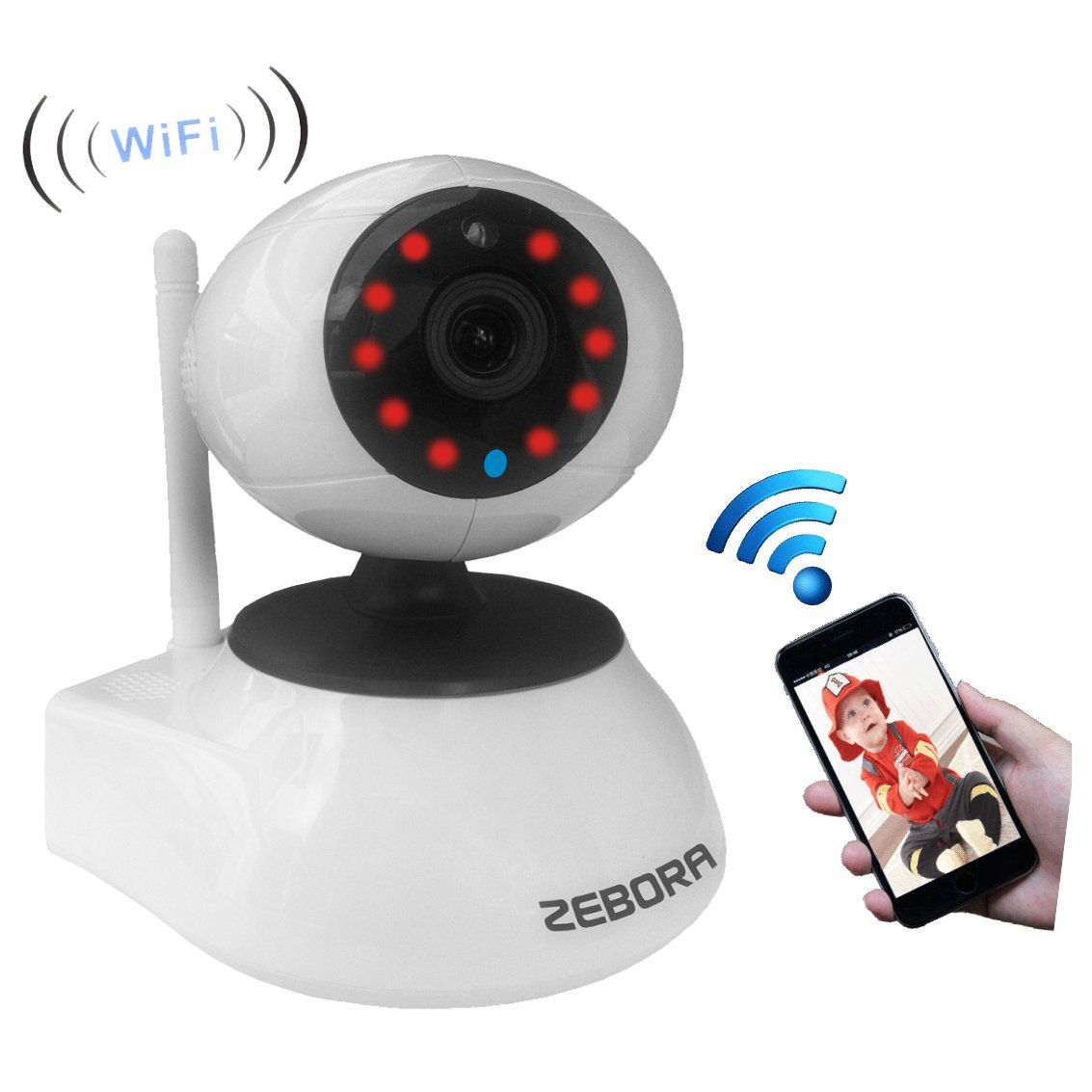 Zebora Super HD 960P Internet WiFi Wireless Network IP Security Surveillance Video Camera System, Baby and Pet Monitor with Pan and Tilt, Two Way Audio & Night Vision (white)