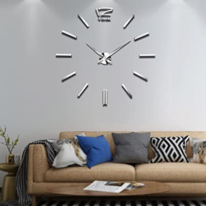 Exceptionnel Vangold Frameless DIY Wall Clock With 2 Year Warranty 3D Mirror Wall Clock  Large Mute