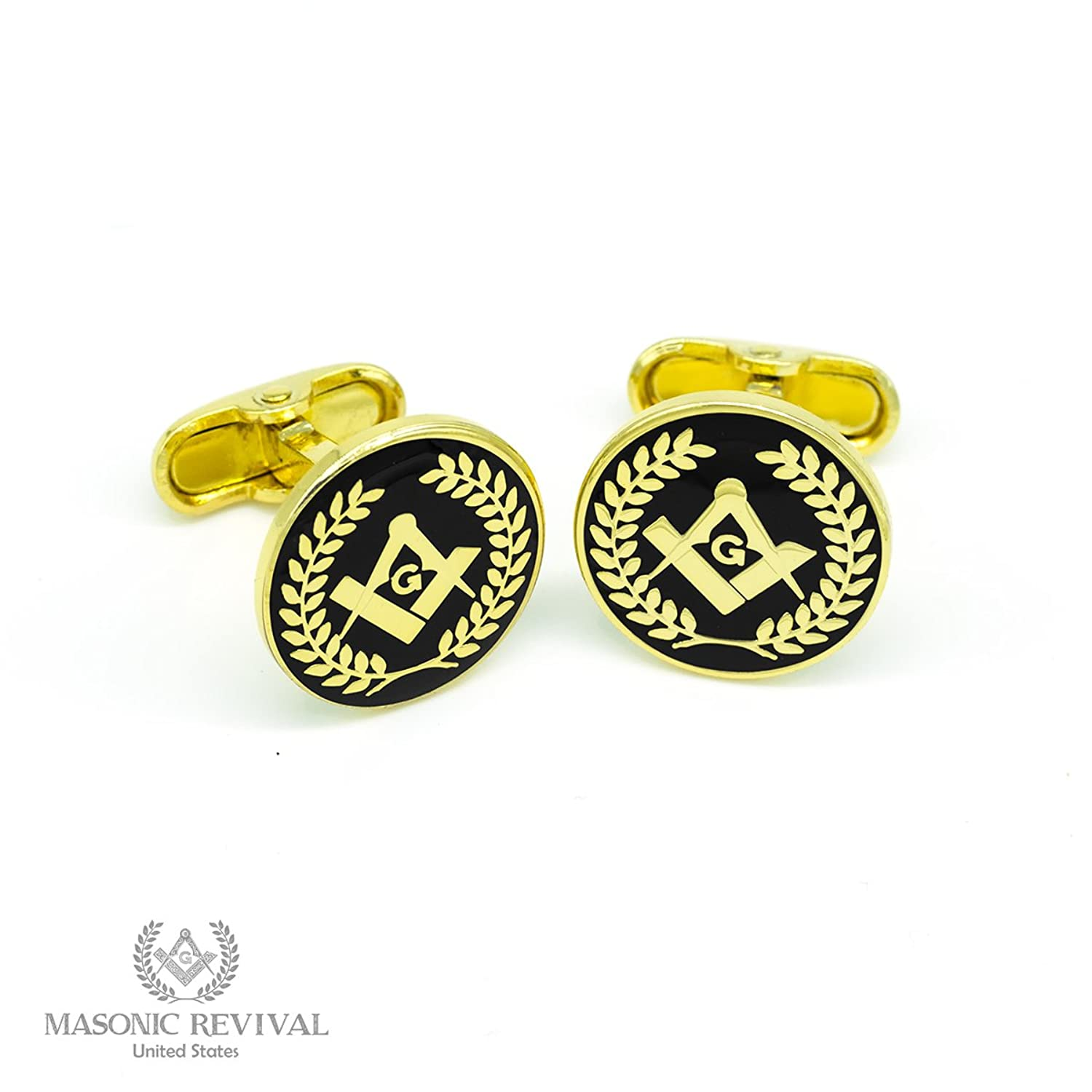 Square and Compass Wreath Cufflinks by Masonic Revival (Gold)
