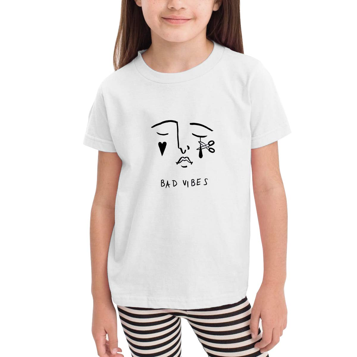 WYeter K.Flay Bad Vibes Childrens Funny Short Sleeve Tshirt White