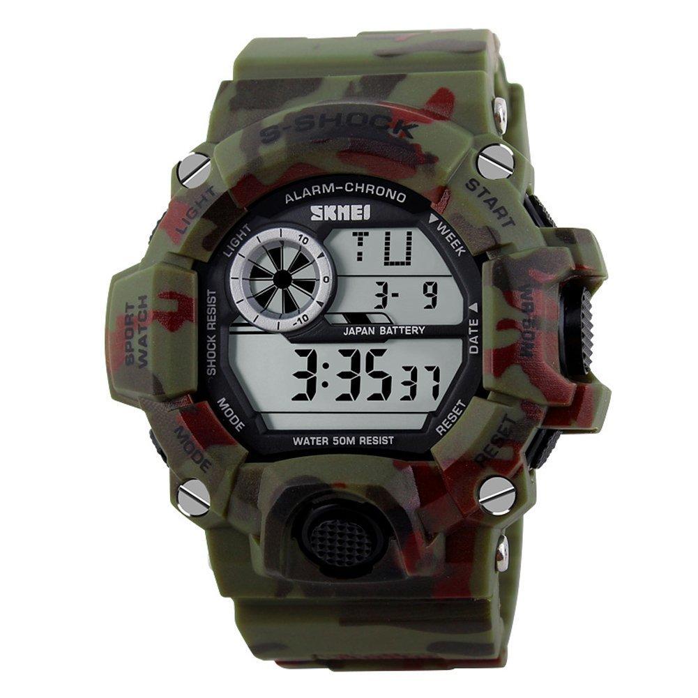 Amazon.com: Carlien Camouflage Military Army Watch Reloj Led Digital Sports Watch Shock Clock: Watches
