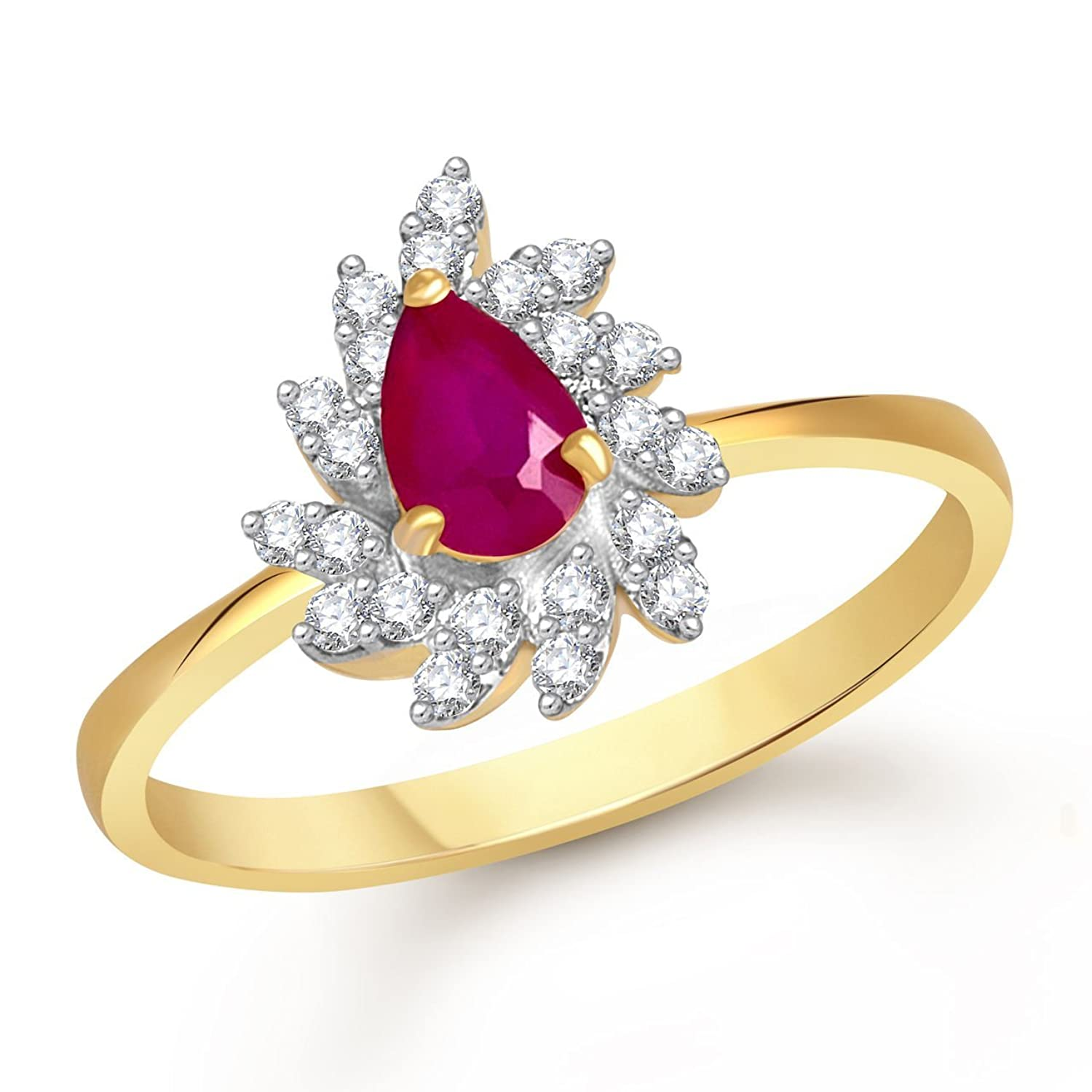 Buy Meenaz Ruby 24K Ring South Indian Traditional Gold Ring For ...