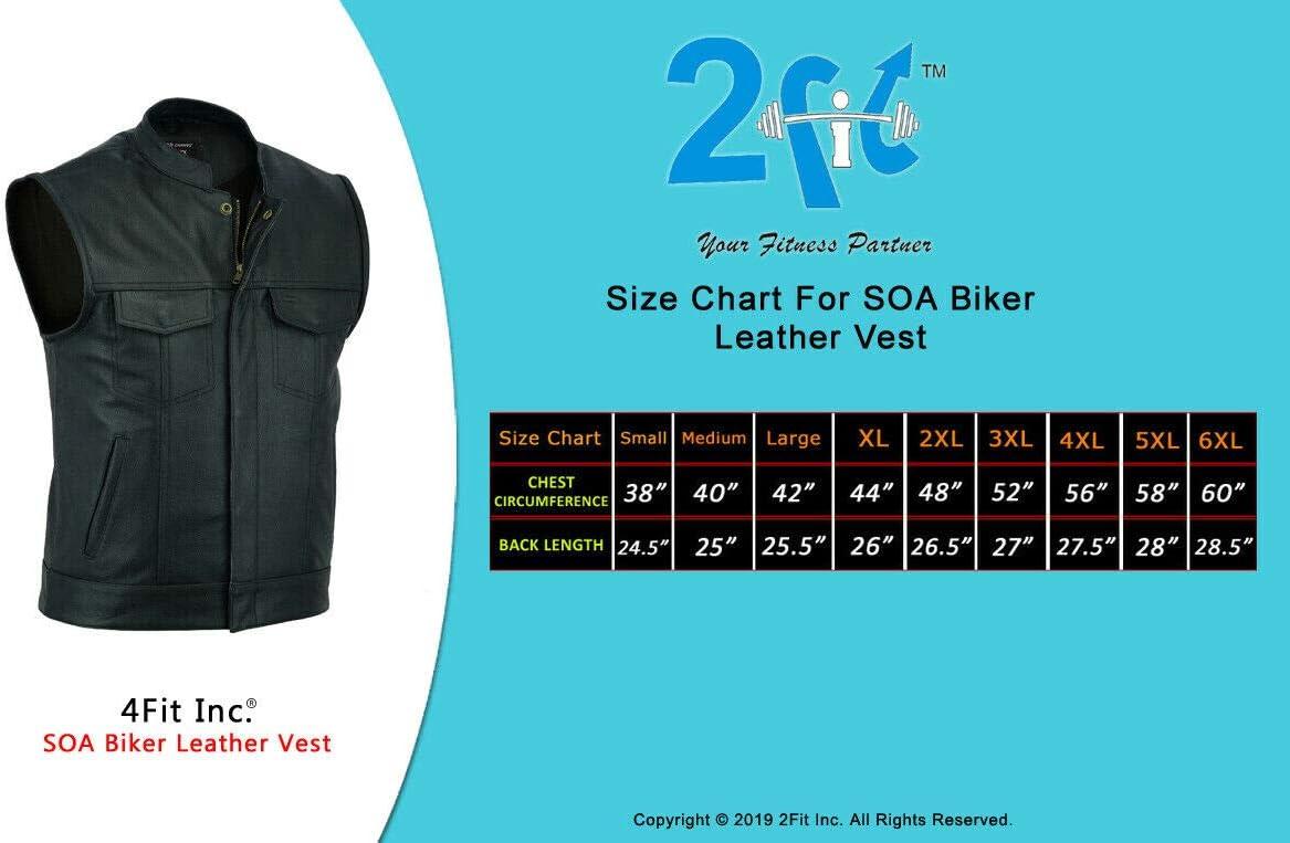 2Fit SOA Mens Leather Vest Anarchy Motorcycle Biker Club Prime Quality Vest MEDIUM