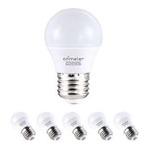 Comzler Frosted A15 LED Bulbs 6 Watts Soft White Light 2700K, 60 Watts Globe Light Bulb Equivalent, E26 Standard Screw Base A15/G45 Shape LED Appliance Bulb Refrigerator 6-Pack