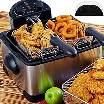 Secura 1700-Watt Stainless-Steel Triple Basket Electric Deep Fryer with Timer Free Extra Odor Filter, 4.2L/17-Cup