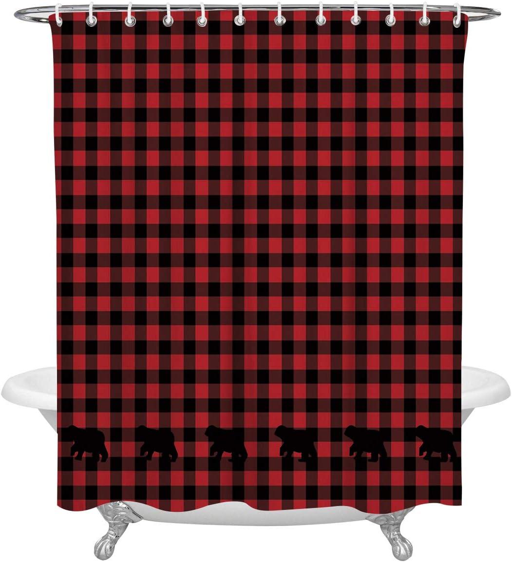 FAMILYDECOR Black Red Plaid Pattern Buffalo Check Bear Applique Shower Curtain Waterproof Fabric Bathroom Decor Set with Hooks, 66