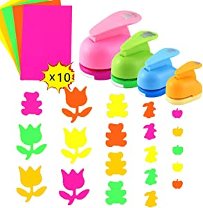Amersumer 4Pcs Paper Craft Printing Shaper Punches,Length 3.5Inch 2.8Inch 2.4Inch 2Inch Shape Punches with 10PCS Colored Craft Sticker Paper for Crafting Scrapbooking Cards(Roses,Bear,Rabbit,Apple)