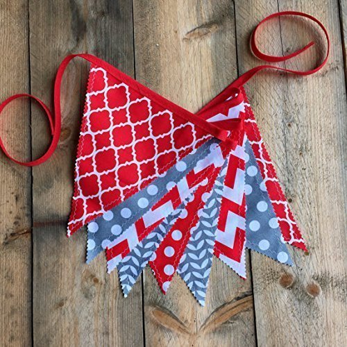 Red and Gray Grey School Spirit Flag Banner Bunting by Sara Sews