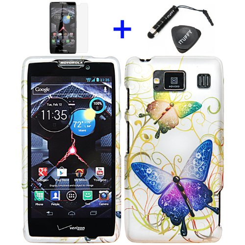 (4 items Combo: ITUFFY (TM) LCD Screen Protector Film + Stylus Pen + Case Opener + Silver Green Purple Butterfly Paisley Flower Vine Design Rubberized Snap on Hard Shell Cover Faceplate Skin Phone Case for Verizon Motorola DROID RAZR HD XT926 / Droid Fighter / (will fit regualr version of DROID RAZR HD Only))