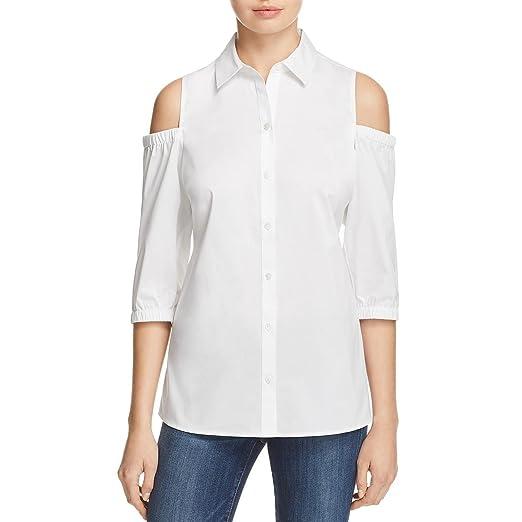 53964cfa6a1af3 Amazon.com  Foxcroft Womens Solid Cold Shoulder Button-Down Top ...