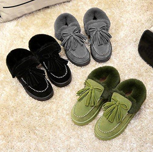 Transer® Damen Warm Weich Mokassins Casual Schuh Baumwolltuch+Plastik (Bitte achten Sie auf die Größentabelle. Bitte eine Nummer größer bestellen. Vielen Dank!) Gray