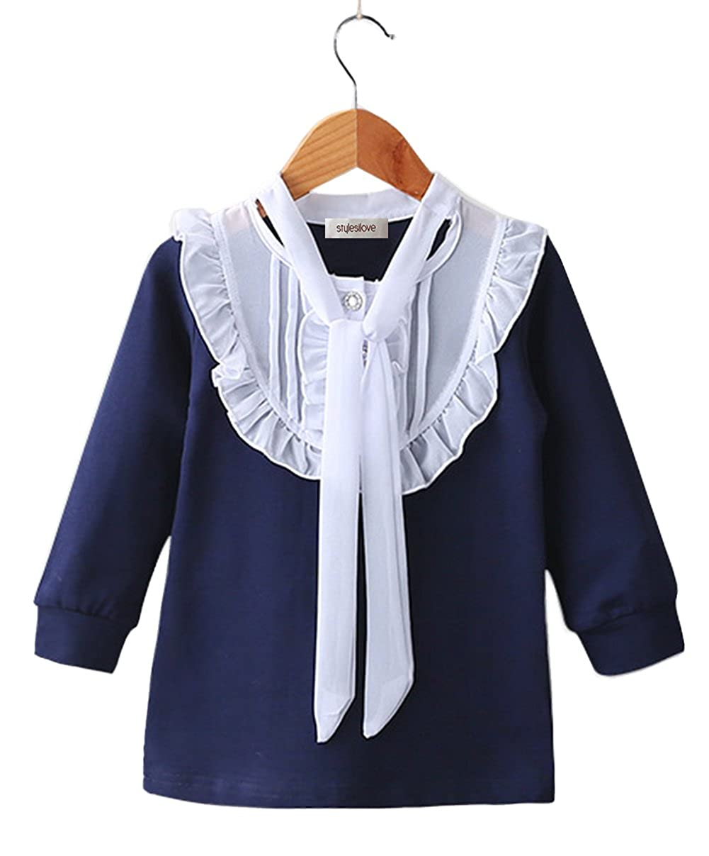stylesilove Elegant Ruffle Tie Neck Little Girl Long Sleeve Cotton Blouse Top