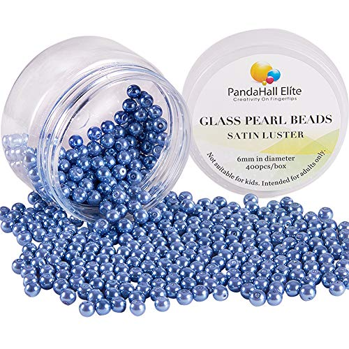 PandaHall Elite About 400 Pcs 6mm Tiny Satin Luster Glass Pearl Bead Round Loose Spacer Beads for Jewelry Making Cornflower Blue Czech Glass Faux Pearls Beads