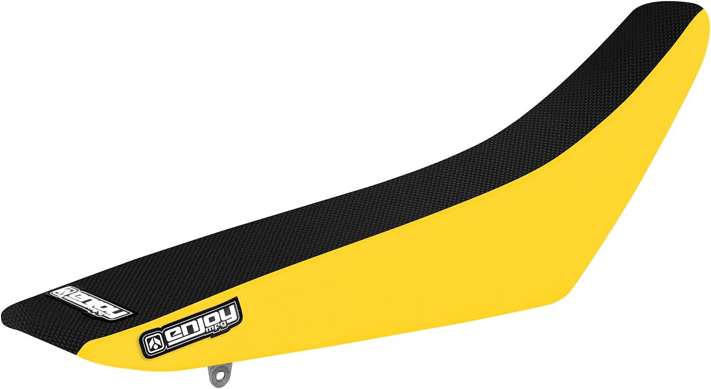Enjoy MFG Ribbed Seat Cover for Suzuki 2005-2007 RMZ 450 Black Ribs Black Sides Yellow Top