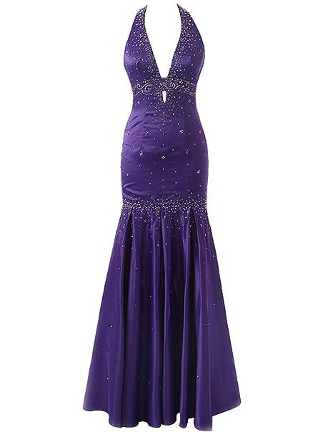 Shoppen Sie Sarahbridal Damen Lang V-Ausschnitt Neckholder Abendkleider  Rückenfrei Brautjungfernkleid SSD176 Violett EU36 auf Amazon.de:Kleider