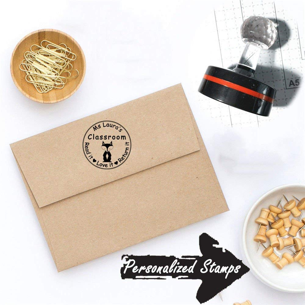 38mm Customized Monogram Self Inking House Return Address Stamp for Envelopes Round Circular Vintage Fox Animal Kawaii Lovely Design Teacher Classroom Praise Comment Business LOGO Handmade Stamps