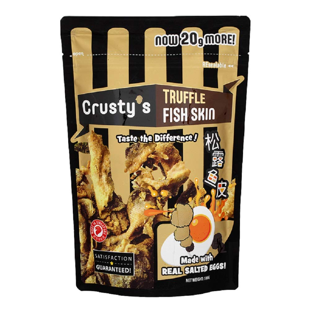 Crusty's Mala Fish Skin Salted egg coating (Crusty's Brand), Fish Skin fried, Truffle Flavour 100g by Crusty's