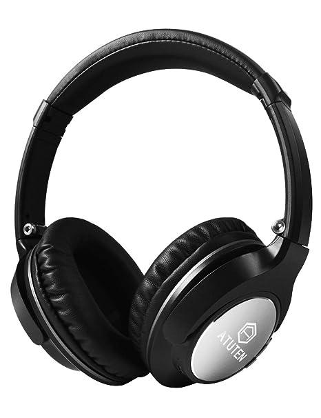 Auriculares Inalámbricos sobre El Oído, Atuten Auriculares Bluetooth con Micrófono, Retractable, Supersoft Protein