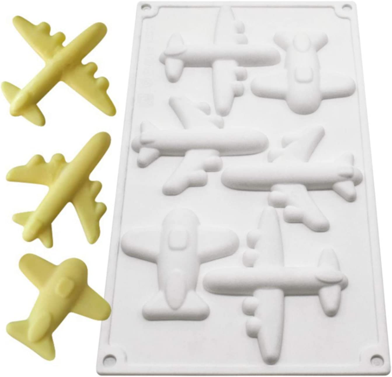 3D Airplane Fondant Silicone Molds - Reusable Non-stick Easy Release Chocolate Mousse Mold ,For Cupcake Decoration Fat Bomb Melt Mini Ice Cube Trays(6-Cavity)
