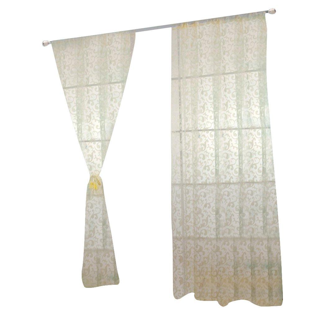 100 * 200cm Un Voilage Moderne Rideau Voile Prêt à poser Pour Chambre Fenêtre - Beige Generic AEQW-WER-AW133608