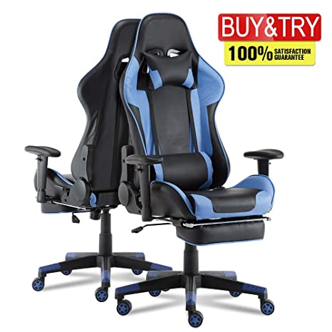Surprising Video Gaming Chair Racing Office Pu Leather High Back Ergonomic 180 Degree Adjustable Swivel Executive Computer Desk Task Large Size With Caraccident5 Cool Chair Designs And Ideas Caraccident5Info