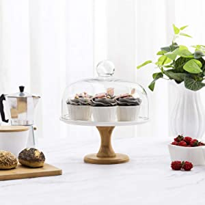 MyGift 9 Inch Wood & White Ceramic Dessert Cake Stand/Serving Platter Pedestal with Clear Glass Dome Lid