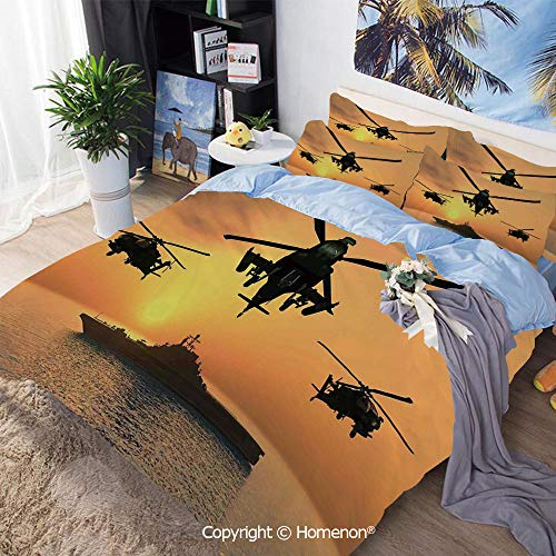 (Three-Piece Bed,Battle Helicopter Over The Ocean Sea and Aircraft Carrier on Combat Art Photo,King Size,Include 1 Quilt Cover+2 Pillow case,Orange)
