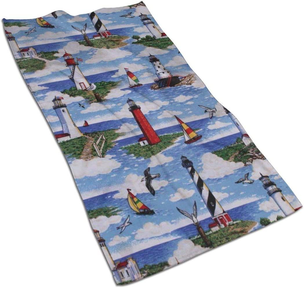 antoipyns Lighthouses Scene Big Sable Highly Absorbent Large Decorative Hand Towels Multipurpose for Bathroom, Hotel, Gym and Spa (16 X 30 Inches)
