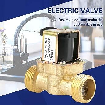 4 de 2 V/ías N//C Electrov/álvula El/éctrica Normal Cerrada Ac 220 240V Fcd-180B 0-50 Celsius Eurobuy Electrov/álvula El/éctrica Entrada de Agua G3