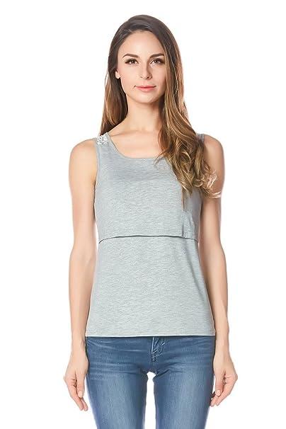 c65b41dace Bearsland Women s Maternity Nursing Tank Tops and Sleeveless Comfy Breastfeeding  Shirts Gray