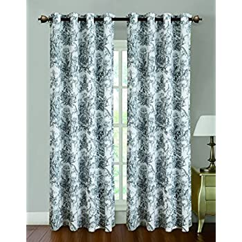 rt designers collection toile printed 55 x 84 in grommet curtain panel black