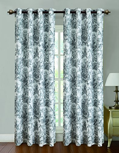 RT Designers Collection Toile Printed 55 x 84 in. Grommet Curtain Panel, Black