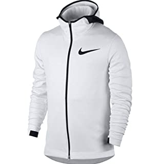 6b9142ea2149f Nike Mens Showtime Therma Flex Basketball Hoodie White Pure Platinum Black  856438-100