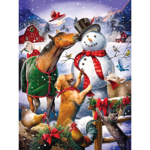 Bits and Pieces - 300 Piece Jigsaw Puzzle for Adults 18 x 24 - Christmas Barn Snowman - 300 Winter Jigsaw by Artist Larry Jones