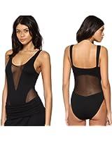 Womens Cheryl Cole Cut Out Sheer Deep V Plunge Mesh Black Bodysuit Leotard Top
