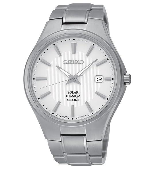 Seiko Reloj Analógico para Hombre de Energía Solar con Correa en Titanio SNE375P1: Amazon.es: Relojes