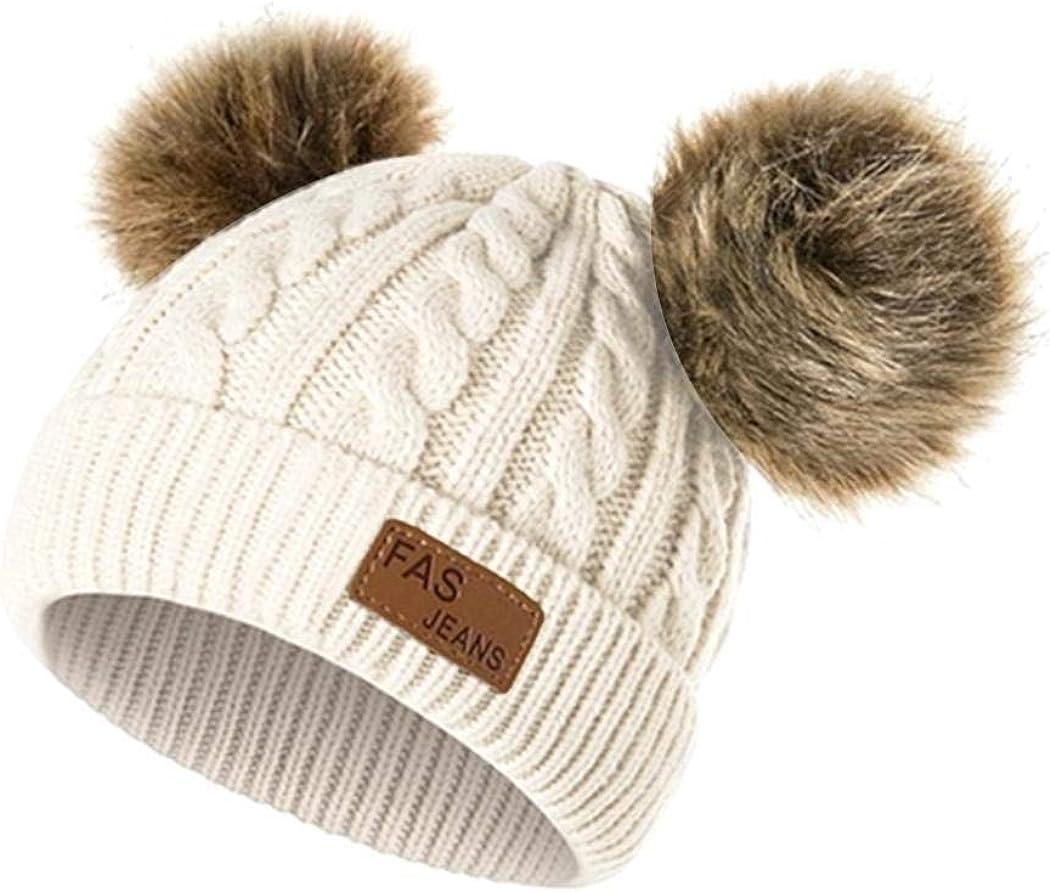 damnef Bonnet tricot/é pour gar/çon et Hiver Bonnet de Fourrure Chaud Bonnets Casquettes et Bobs