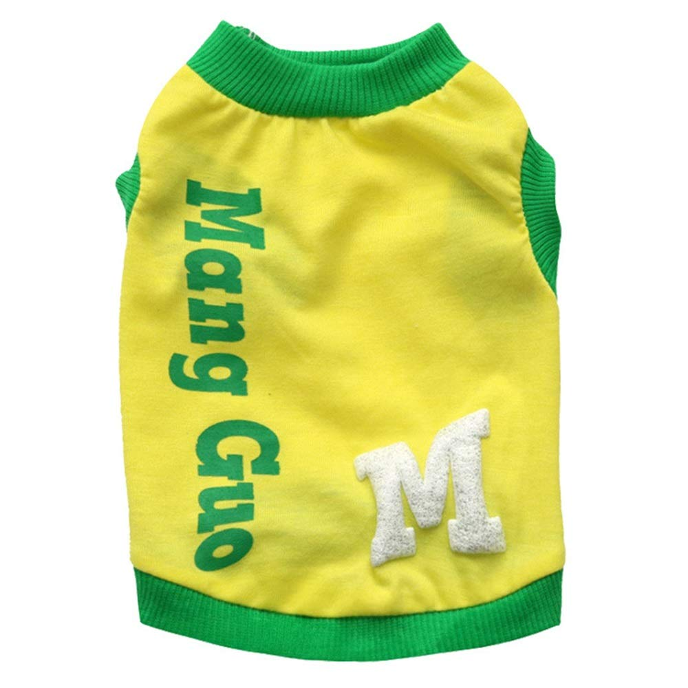 Yellow S Yellow S Huayue Dog Clothing Pet Clothes Cotton Letter Pet Vest Pet Dog Costume Puppy Vest (color   Yellow, Size   S)