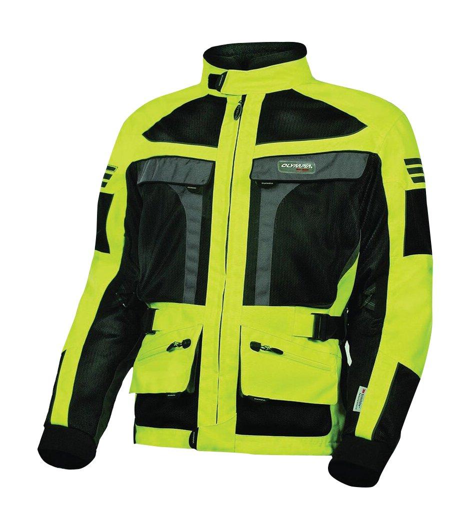 Olympia Moto Sports MJ222 Men's Dakar Dual Sport Mesh Tech Jacket (Neon Yellow/Black, Large)