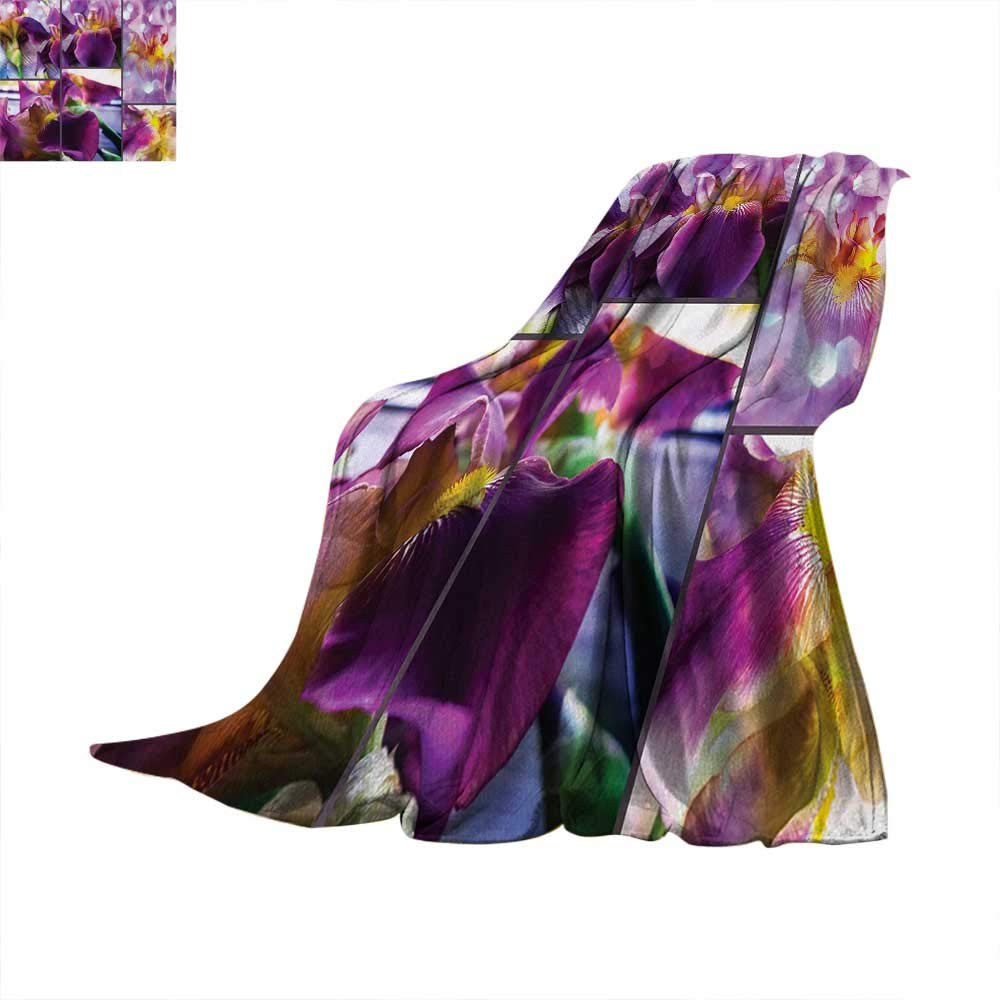 Anhuthree Rustic Super Soft Lightweight Blanket Blooming Iris Flowers Orchids on Rustic Wood Natural Floral Beauty Romantic Image Summer Quilt Comforter 62''x60'' Yellow Purple