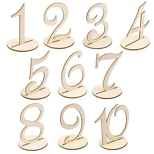 qingsb Número de Mesa de Madera Tallada números 1 a 10 ...