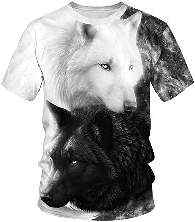 Verano Nuevo Gato y Camiseta con Estampado de Perros Camisa de Hombre 3D Animal Print Street Camiseta de Hombre Camiseta de Manga Corta para los Amantes Camiseta de Manga Corta: Amazon.es: Ropa