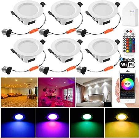 6 Pcs Warm//Cool LED Ceiling Recessed Spotlight Angle Adjustable Home Lamp BT
