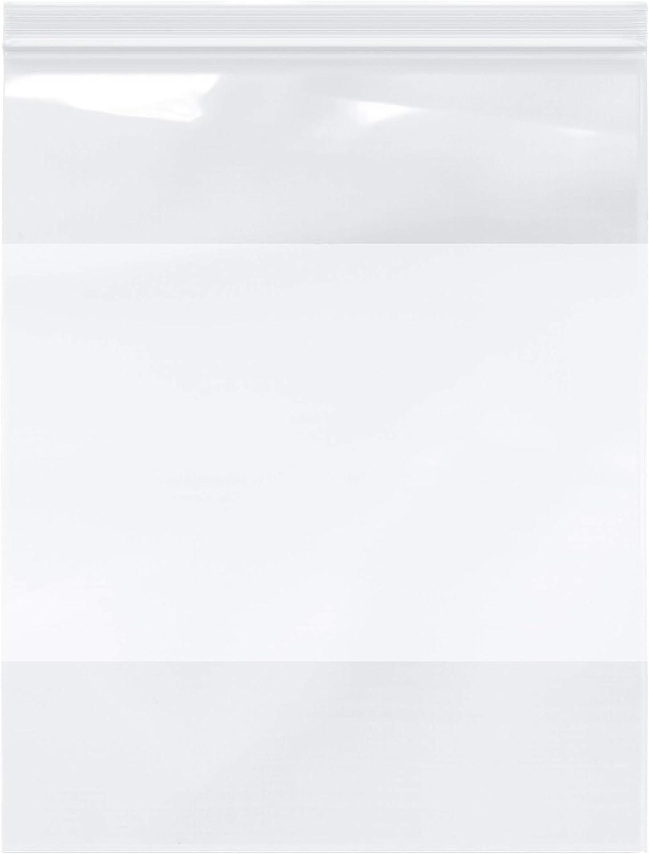"Plymor Zipper Reclosable Plastic Bags w/White Block, 2 Mil, 12"" x 15"" (Pack of 200)"