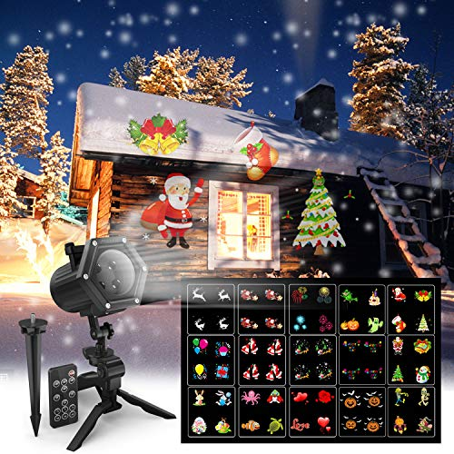 Christmas Projector Lights, Maxcio LED Projector Light for Christmas, Halloween, Birthday, Party, 15 Dynamic Films, 2018 New Holiday Decoration Light, Waterproof for Indoor/Outdoor Use, 6W]()