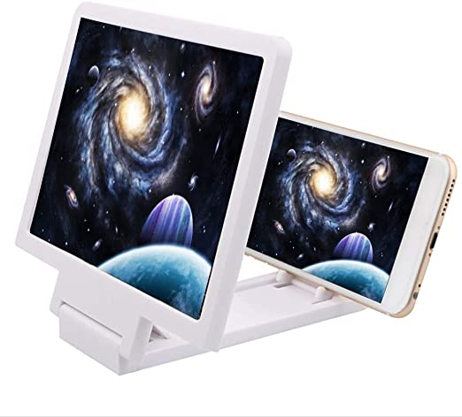Handheld Magnifier HD Mobile Phone Screen Magnifier-3D Mobile Phone Amplifier Foldable Smartphone Stand 12 Inch Mobile Phone Screen Amplifier Multifunctional Modern Magnifying Glass Series