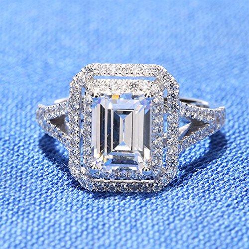 Gowe 2carat CT Coupe Émeraude Bague de fiançailles meilleure qualité de faux diamant de mariage et finitions authentique 14K 585Or blanc