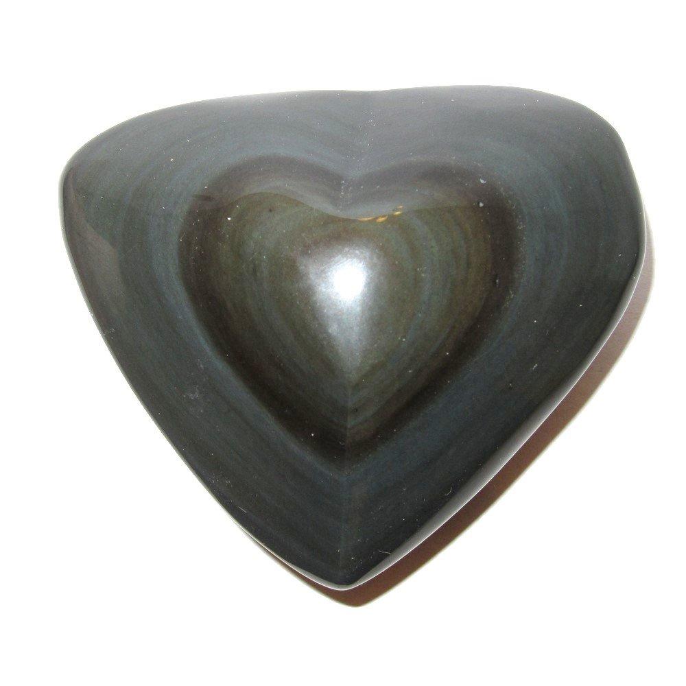 Obsidian Heart Rainbow 12 Love Attraction Manifestation Stone Magma Volcano Crystal 3''